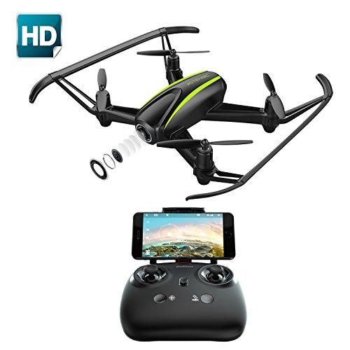 Drone con cámara 720P HD, Potensic RC Quadcopter RTF Altitude Hold, Avión con Posicionamiento de Flujo óptico, Modo sin cabeza WiFi FPV 2.4Ghz, Funciones de Aterrizaje y Despegue, U36W Negro