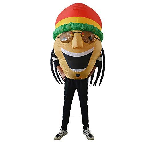 MIMI KING Erwachsene Aufblasbare Kostüm Jamaikanische Kopfbedeckung, Halloween, Weihnachtsthema Party Lustige Kleid