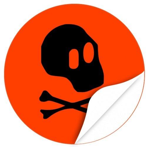 Halloween Dekoration / Aufkleber / Sticker / 48 Stück / Totenkopf zum kleben / Dekorieren / Farbe Orange / Selbstklebend / Rund (Halloween Für Sie Dekorieren Office Ideen)