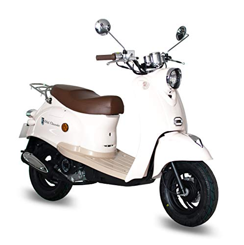 Preisvergleich Produktbild Motorroller GMX 460 Retro Classic 45 km / h cremeweiß - sparsames 4 Takt 50ccm Mokick mit Euro 4 Abgasnorm