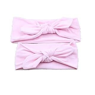 ALCYONEUS Baby Mother Headband Set Turban Bowknot Elastic Solid Color Hair Band Headwear (Pink)