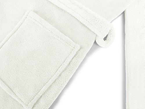 npluseins Kuschelfleece-Bademantel mit Kapuze - erhältlich 5 Größen - für Damen und Herren - klassisch elegantes Design - wadenlang geschnitten - weiß, XXL