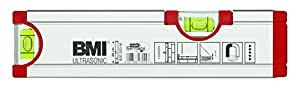 BMI 692020M ULTRASONIC Niveau à bulle, Rouge/argent, 20 cm