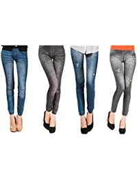 Pack de 4 Leggins jeans diferentes modelos mujer ropa licra