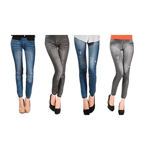 ExclusivoCIR Pack de 4 Leggins jeans diferentes modelos mujer ropa licra (Pack 4)