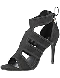 fac40ee10c01 Ladies Ella Faux Suede Cut Out Strappy Peep Toe Lace Up Stiletto High Heel  Party Sandals