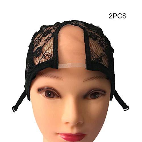 Alexsix 1/2/5 Stück Perücke Cap Lace Net mit verstellbaren Trägern Stretchy Mesh Perücke Caps für die Herstellung von ()