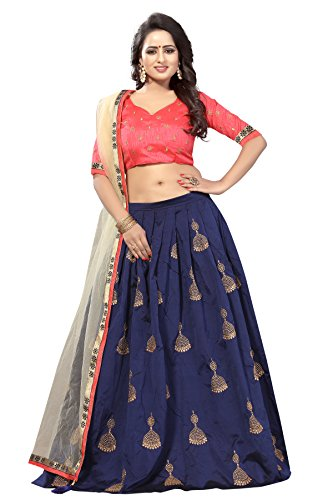 Momcreation Women's Tapeta Silk Lehenga Choli (Mom-New01,Blue,Free Size, Semi-Stitched)