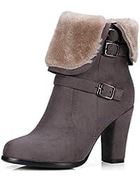Las Mujeres Gruesas de Felpa de Nieve Botas Invierno Caliente Zapatos Hebilla Correa Lateral Cremallera Tacones