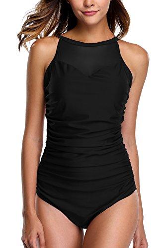CharmLeaks Damen Elegant Mesh Figurformender Badeanzug Retro Einteiler Swimsuit Schwarz M