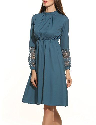 Zeagoo Damen elegant Kleid hohe Taillen A - Linie Vintage Partykleid langarm mit Häkelspitze und Schlüsselloch Schlitz am Rücken (Blau, XXL) (Schlüsselloch Blau)
