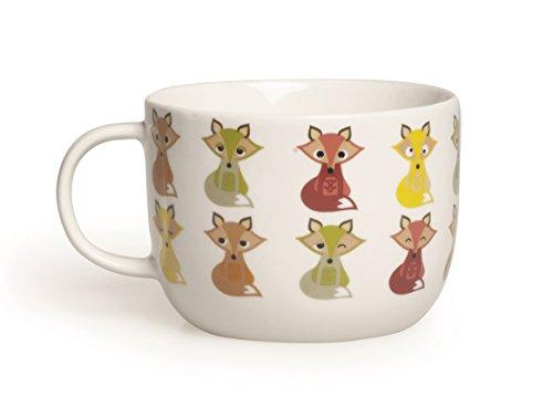 Excelsa tazas Animals Taza Jumbo zorro 450ml, porcelana, blanco/multicolor, 11x 11x 8.1cm