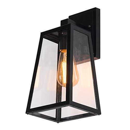 JF-WALL LIGHT EIN-Licht-Außenwandlaterne, Außenwandleuchte aus Aluminium mit klaren abgeschrägten Glasscheiben, Höhe 13,8 Zoll, schwarz -