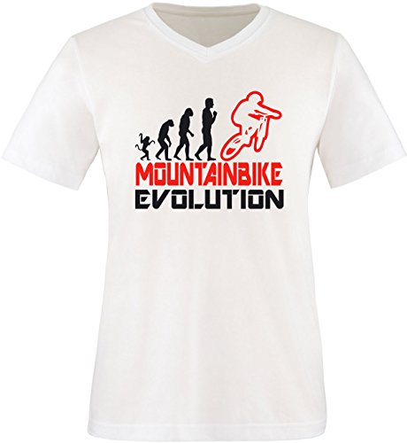 EZYshirt® Mountainbike Evolution Herren V-Neck T-Shirt Weiss/Schwarz/Rot