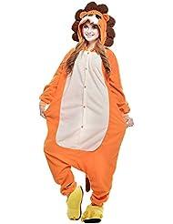 Freefisher Pijama Ropa de dormir costume Disfraz de Animal Cosplay Cartoon Franela hombre mujer león XL