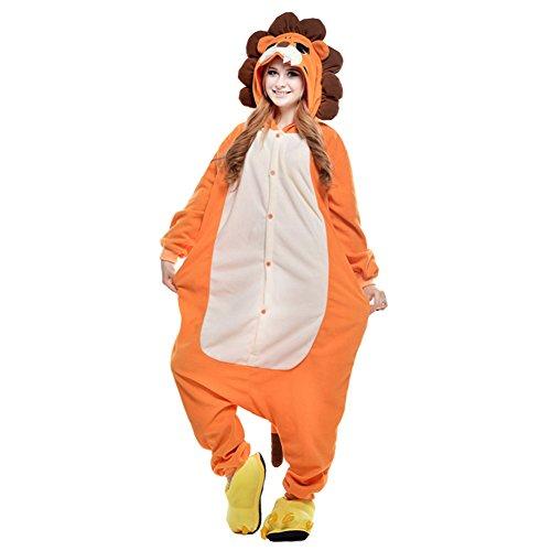 Free Fisher Damen/Herren Jumpsuit Kostüm Schlafanzug Pyjamas Einteiler, Löwe Orange und Weiß, Gr. XL (Körpergröße 178-188 CM)