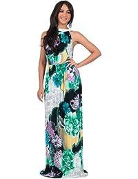 KOH KOH® Damen Ärmelloses Halter Maxikleid Blumen Print Dress