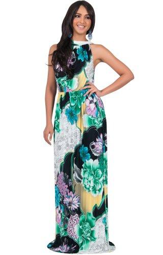 KOH KOH® Plus Size Damen Ärmelloses Halter Maxikleid Blumen Print Dress, Farbe Grün, Größe XL / Extra Large (Plus Size Clearance Kostüme)