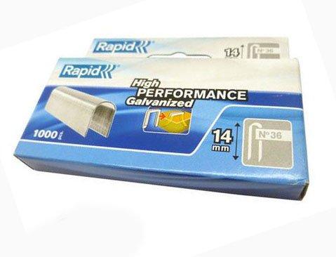 Rapid 11886902–Caja de 1000grapas Cable 36/14mm DP Galva 1m blanco