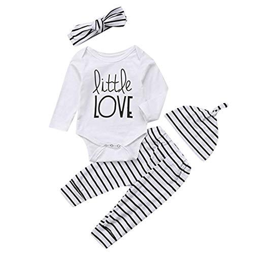 renen Jumpsuit Jungen Mädchen Langarm Outfits Brief Tops + Streifen Hosen Stirnband Kleidung Sets Moginp (70, Weiß) ()