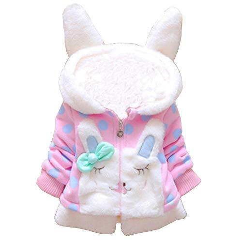 Little Hand Baby Mäntel Mädchen Kapuze Jacke Kinder Winter Kleidung Warm 80 86 92 98 (92(1-2jahre)=HerstellerGröße 10, Hellrosa)
