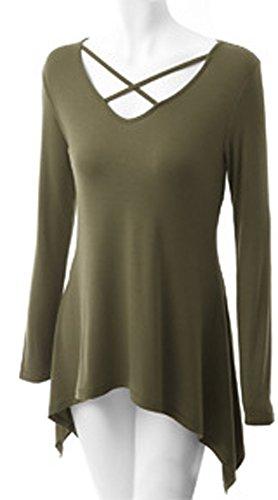 Freizeit Frauen V-Kragen Lose Gestricktes Langarmshirt Unregelmäßiger Saum T Shirt Grün