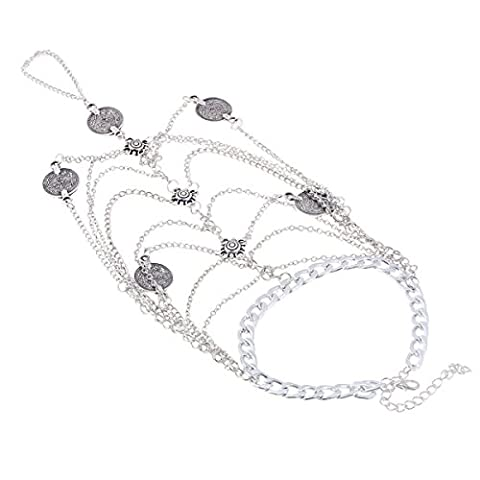 GAOLIXIA Silver Metal Personality Sequins Lady Anklet 2 Pieces / Bag,A-OneSize