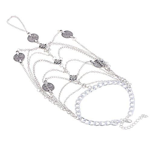 GAOLIXIA Silver Metal Personalità Sequins Lady Anklet 2 Pezzi / Borsa A