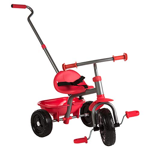 ColorBaby - Triciclo con mango extensible, Color Rojo (43451)