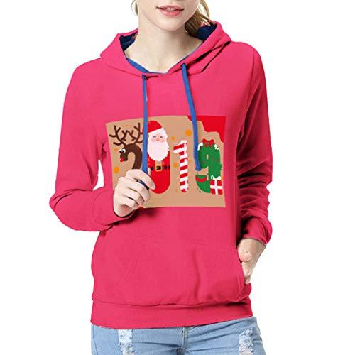 Ningsun natale felpe con cappuccio,donne natale 2019 stampare manica lunga con cappuccio maglietta felpa camicetta,moda autunno inverno sweatshirt tops maglietta(rosa caldo,s)