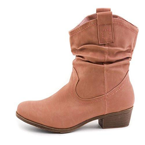 De Ankle Óptica Botas Femininas Botas Ocidental Motoqueiro De Altrosa Couro Boots x00rzqw5nB