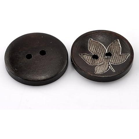 quickcor (TM) Fashion 50pcs oscuro hoja de café redonda Patrón de flores Botones de costura de madera 25mm (1