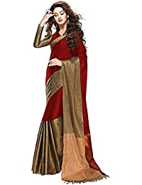 Manorath Women's Cotton Silk Color Block Saree With Blouse - FWS_312_Diwali Special_Maroon And Copper_Free Size