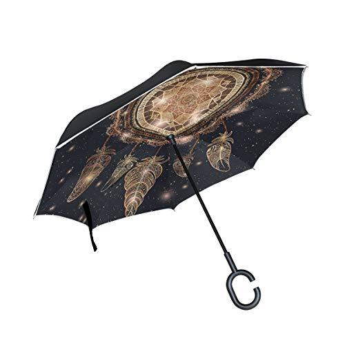 CPYang Paraguas invertido Galaxy atrapasueños Pluma Doble Capa Paraguas Reflectante Resistente al Viento para Coche al Aire Libre Viaje