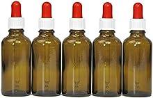 5x 50ml Pipeta botellas (marrón cristal) con pipeta, braunglasf laschen con dosierpipette o Pipeta con cuentagotas Dosificar de gota de ojo de líquidos, por ejemplo, incluye 5rotulación etiquetas