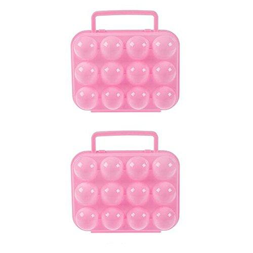 LAAT 2PCS Bandeja de Huevos Bandeja Caja Huevos de Fiesta de Bandeja a Prueba de Golpes Caja huevera de plástico A Prueba de Golpes, portátil, al Aire Libre Navidad Size M(20x19cm) (Rosa)