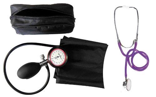 Blutdruckmessgerät Oberarm 1-Schlauch + Stethoskop Doppelkopf Violett Doppelkopfstethoskop 1 Stück (= 1 Set - 2 Artikel) - Stetoskop plus RR-Gerät zertifizierte Klinikqualität