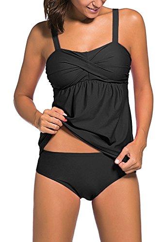 YuanYan Damen Gepolstert Tankini Set Schwimmanzug Zweiteilig Badeanzug Bandeau-BH Figuroptimizer, Größe 2XL(EU 40-42), Farbe Schwarz (Farbe Boyshorts)