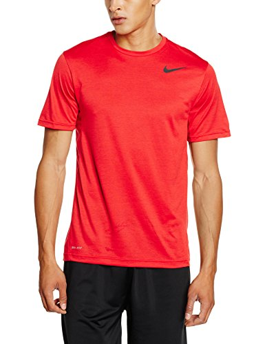 Nike T-shirt da uomo, Dri-Fit, a maniche corte, Uomo, Kurzarm Shirt Dri-Fit Training, rosso/nero, XL