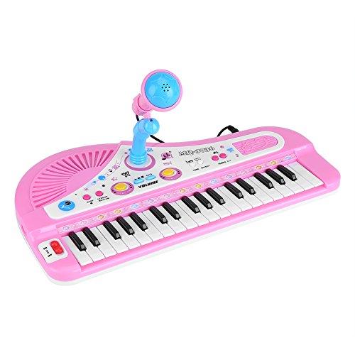 Kleine tragbar Elektronische Tastatur Klavier Rosa Standkeyboard Mit Mikrofon und 37 Tasten Multifunktions Musik Spielzeug Orgel Pädagogisches Geschenk Keyboard für Kinder Babys Anfänger zum Geburtsta