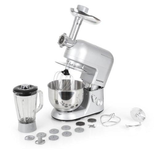 Klarstein Lucia Argentea robot da cucina tritacarne, mixer, multiuso (1200 Watt, 5 litri, 6 regolazioni) color argento