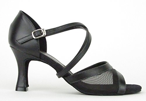So Danca Latein Salsa Rumba Tango Tanz Schuhe BL 158 Chromledersohle, Absatz 6,4 cm Schwarz/Schwarz