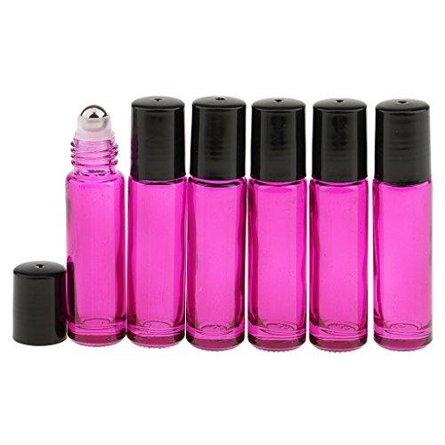 Gazechimp 6 Stück Roll-on Glasflaschen für ätherisches Öl 10ml (1/3 Unze) Aromatherapie Öl nachfüllbar Flaschen mit Roller Ball - Rose Rot (1 Unze Schwarze Rose)