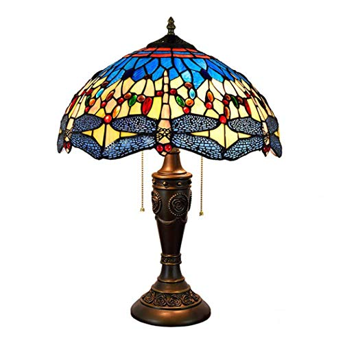Light-GYH Tiffany-Stil Tischlampe, mediterranes Blau und Gelb Glasmalerei und Juwelen Libelle Design Schreibtischleuchte für Wohnzimmer Schreibtisch, E27 MAX 40W * 2