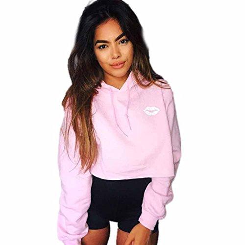 Preisvergleich Produktbild Hoodie Sweatshirt , ESAILQ Damen Kapuzenpulli Sweatshirt Pullover Ernte Oberseiten Mantel Sport Pullover Oberseiten (S, Rosa)