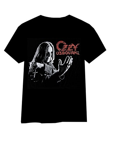 Buffini Ozzy Osbourne Herren Schwarz T-Shirt Weiß (white logo)