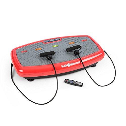 Klarfit Vib 1000 • Vibrationsplatte • Vibrationstrainer • Fitnessgerät • 30 Intensitätsstufen • Trainingscomputer • LCD-Display • Bodenrollen • platzsparend • max. 120 Kg • Fitness-Bänder • rot