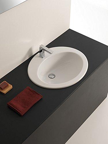 Lavabo Lavabo moderne à encastrer modèle MINERVA en céramique blanc 62 x 53 x H24 cm
