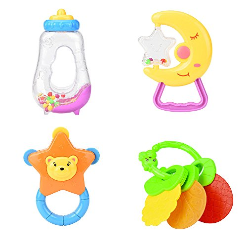 Rattle Teether Set Newborn Baby Toys, Liketo 4pcs Teether Handle and Rattle Play Toy Set for Infant Toddler Nursery Gift Play Set 416PkhxdkQL