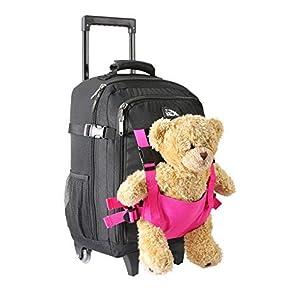 Cabin Max Bear – Maleta con Ruedas para Niños Bolso para Osito de 50 x 34 x 20 cm (20 x 13,5 x 8 Pulgadas) – 33 L – ¡Ligera! (Negro y Rosa)